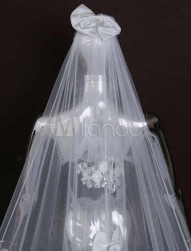Wedding Cathedral Veils Two Tiered Bow Decoration Lace Applique Waterfall Veil With Comb