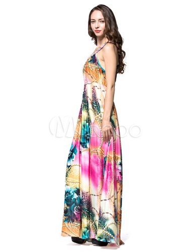 Milanoo / Boho Plus Size Dress Halter Printed Womens Long Dress
