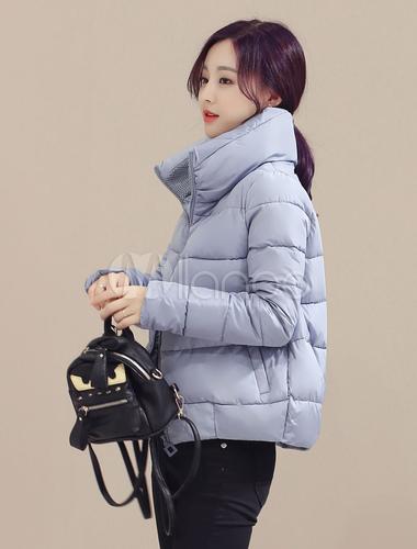 91abec0e08b ... Collar del soporte de la mujer chaqueta acolchada gris manga larga  Outwear-No.2 ...