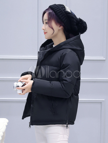 Chaqueta negra manga larga con capucha chaqueta calor-preservación  acolchada chaqueta mujer-No. 04e5695ad9cfb