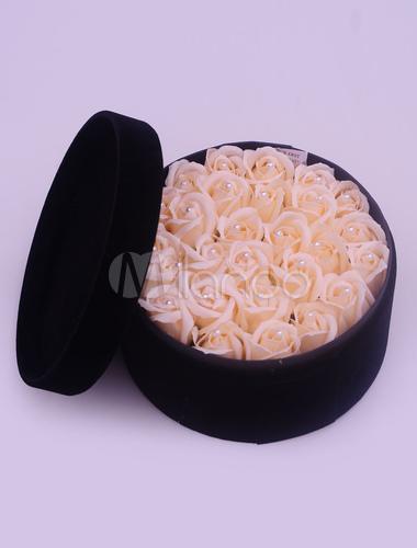 Runde Personalisierte Hochzeitsgeschenke Box Kunstliche Blume Rosa