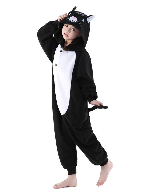 Karneval Katze Kigurumi Onesie Schwarze Tier Onesie Kinder Flanell