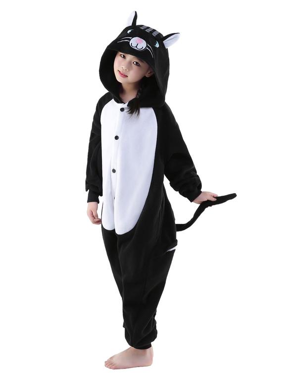 c3ef44f3f76d4 ... Combinaison Pyjama Chat Noir Kigurumi Costume Enfant Halloween -No.3 ...