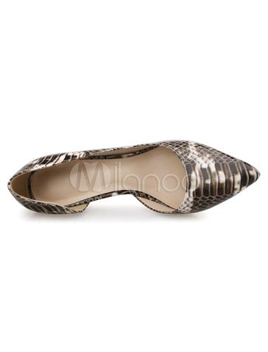 Serpiente de acentuado tacones imprime zapatos zapatos de las bombas PU cuero Womens NdOjAZR