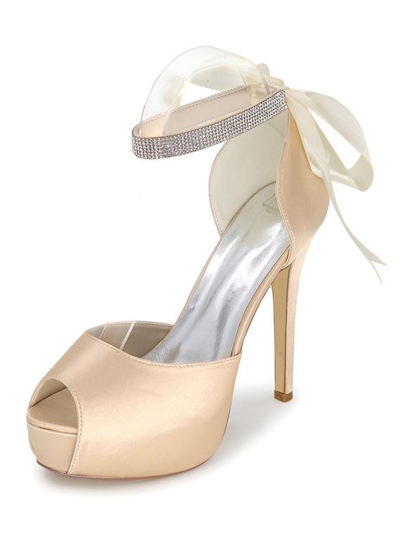 6674f13be3 Peep Wedding Shoes Platform Sandals Women's High Heel Ankle Strap  Rhinestones Satin Bridal Shoes