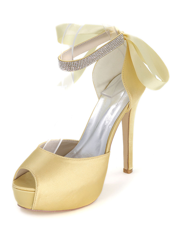 2e1777dd7a35 ... Peep Wedding Shoes Platform Sandals Women s High Heel Ankle Strap  Rhinestones Satin Bridal Shoes- ...