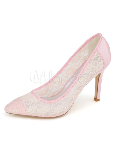 4aa0619116 ... Black Wedding Shoes Women's Lace Mesh Pointed Toe Slip On High Heel  Bridal Shoes- ...