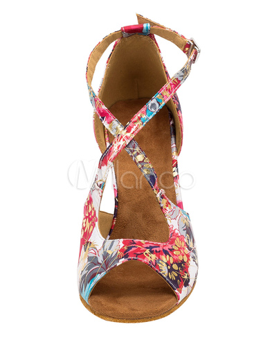 Salón Vintage zapatos de talón quemado impreso Floral Cruz frontal Correa T-zapatos de baile para mujeres B4BL6iOJHg