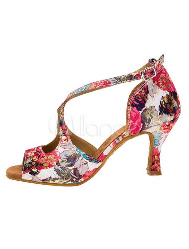 Salón Vintage zapatos de talón quemado impreso Floral Cruz frontal Correa T-zapatos de baile para mujeres Ijf5c