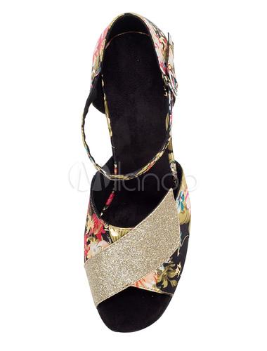 Danza Vintage zapatos Peep impresión Floral de tacón alto mujeres salón de baile zapatos modificados para requisitos particulares urvYyt