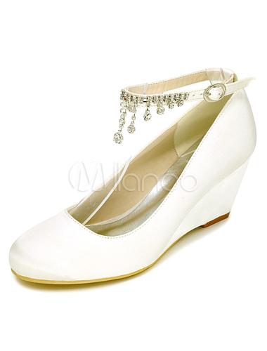 Chaussures Cheville Strass 2019 Bride Blanc Mariage La Talon Compensé À Mariée Satin De PkiTOXZu