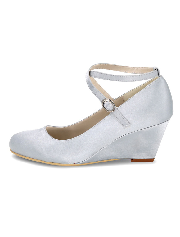White Wedding Shoes Wedge Heel Criss Cross Mother Shoes ...