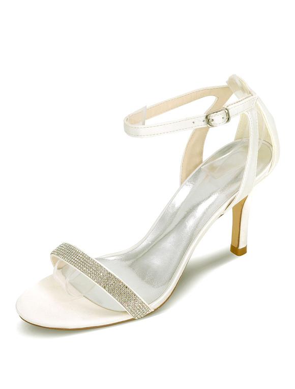Satin Chaussures Noces Haut Talon Sandales De Mariée Strass D'argent v6Yb7fgy