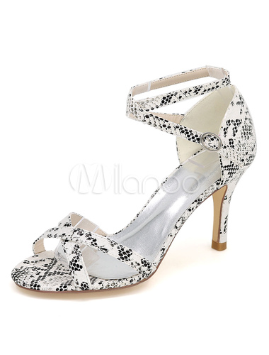 1b2ed98b198 White High Heels Snake Print Cross Front Ankle Strap Women s Sandals-No. ...