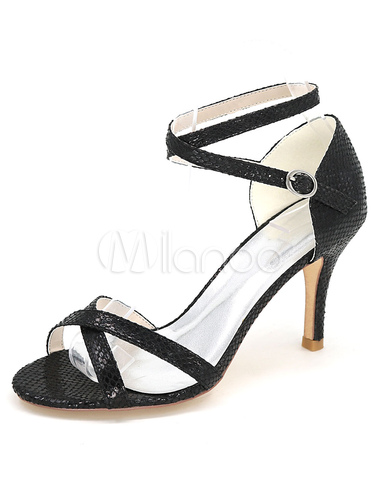 a2fc1b8a9a8 ... White High Heels Snake Print Cross Front Ankle Strap Women s Sandals-No.  ...