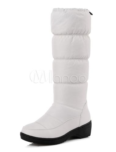Bota azul plataforma femenino ronda Toe cuña acolchado botas de invierno JVhoqi7WH