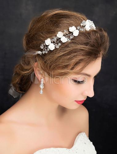 Hochzeit Haar Stirnband Silber Strass Zirkonia Blumen Braut