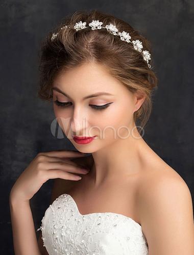 mariage bandeau strass argent fleurs mari e accessoires pour cheveux. Black Bedroom Furniture Sets. Home Design Ideas