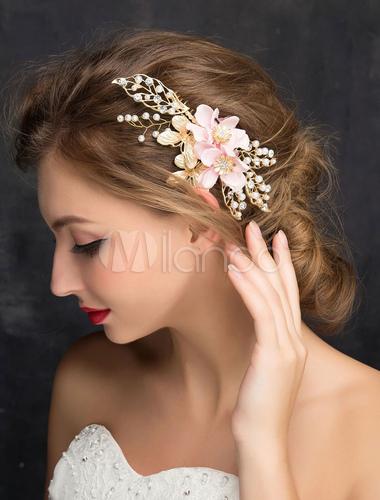 Goldene Hochzeit Kopfschmuck Blumen Perlen Strass Zirkonia Braut Haarschmuck