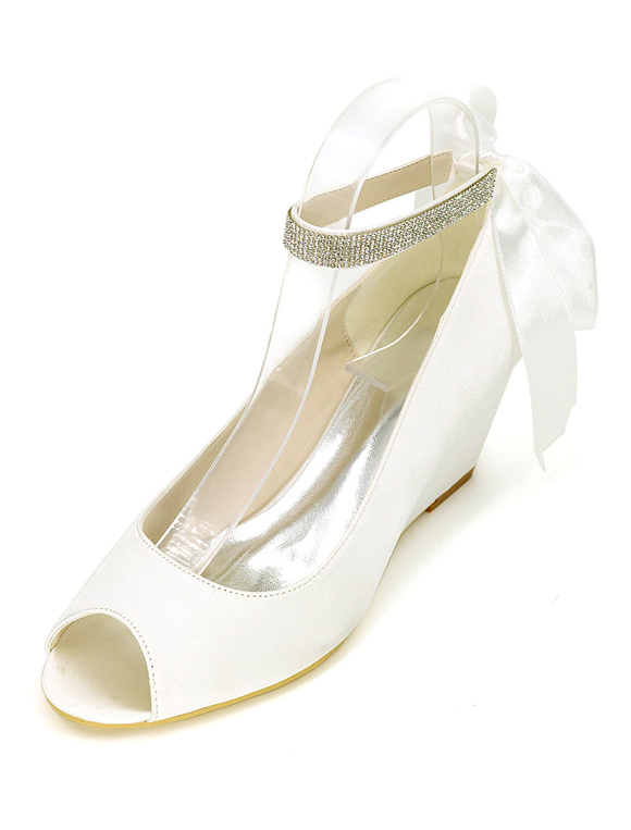 chaussures de mari e blanc 2018 talon compens bride la cheville chaussures de mariage. Black Bedroom Furniture Sets. Home Design Ideas