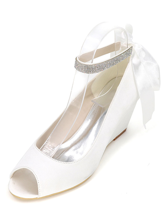 Champagner Brautschuhe Peep Wedge Ankle Strap Ribbon Bow