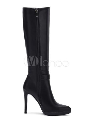 schwarze stiefel kniehoch damen high heel spitzen zehen hohe stiefel mit rei verschluss schnalle. Black Bedroom Furniture Sets. Home Design Ideas