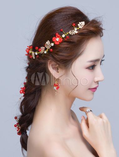Hochzeit Haar Zubehor Rote Blumen Perle Legierung Braut Kopfschmuck