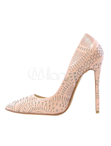 Milanoo / Pink High Heels Leather Cut Out Women's Pointed Toe Slip-On Pumps
