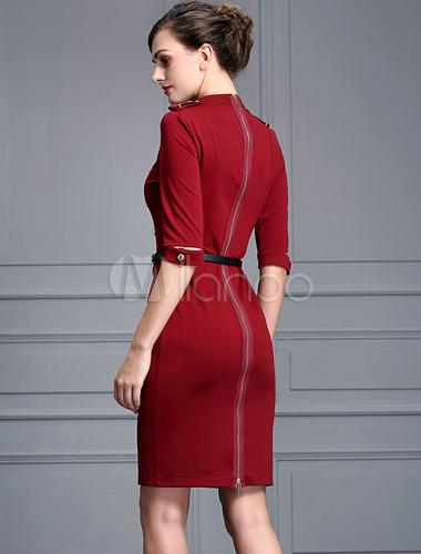 reputable site 24eff 2632d Mezze maniche esercito stile tubino doppio petto Bordeaux Bodycon abito  femminile con cintura