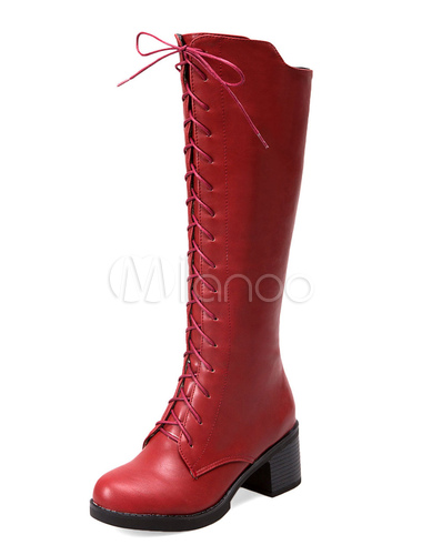Botas a la rodilla de PU de color liso con cordones UJlw07