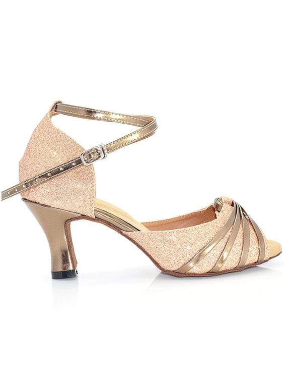 Zapatos de bailes latinos color oro rosado color liso estilo moderno UXRtHkj5O