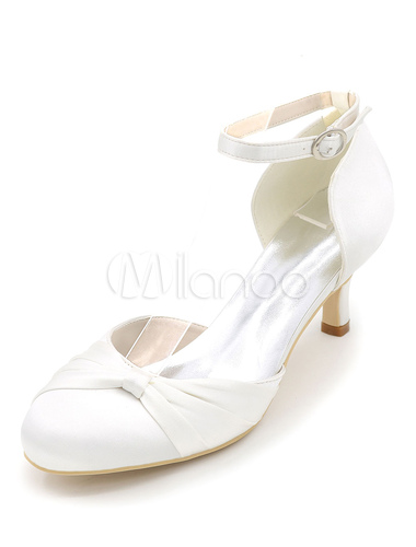 317ab7c6724 ... Ivory Wedding Shoes Satin High Heel Bridal Shoes Round Toe Ankle Strap  Kitten Heel Pumps- ...