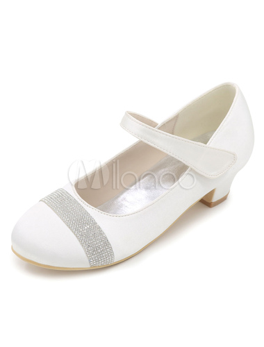 Champagne Flower Girl Pumps Rhinestones Chunky Heel Mary Jane Shoes H5Y7Bd