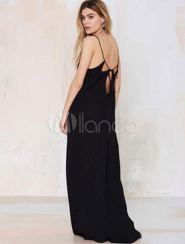 56d724822c37 ... Schwarzes Maxikleid Riemchen ärmellose ausgeschnittene langes Kleid  rückenfrei Baumwolle-No.3