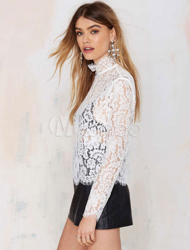 cc978aed91 ... Renda branca blusa manga longa gola alta chique pura Top para  mulheres-No.3 ...