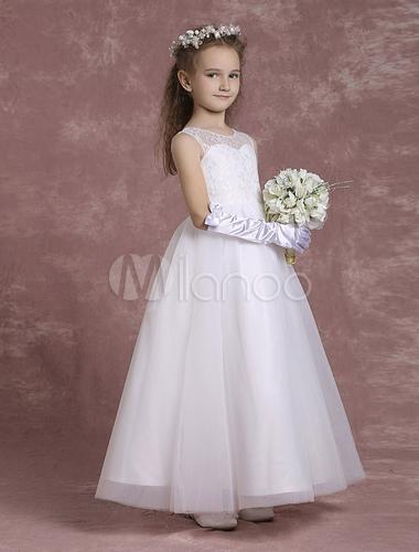 530c536e122f5 ... Robe fille de fleurs dentelle ivoire robe de communion robe mariage  enfant -No.3 ...