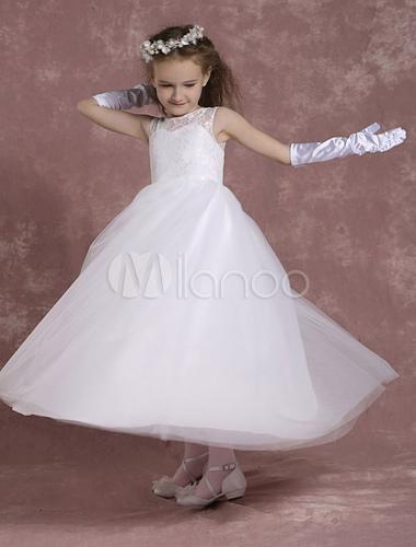 b893b43c6a80e ... Robe fille de fleurs dentelle ivoire robe de communion robe mariage  enfant -No.5 ...