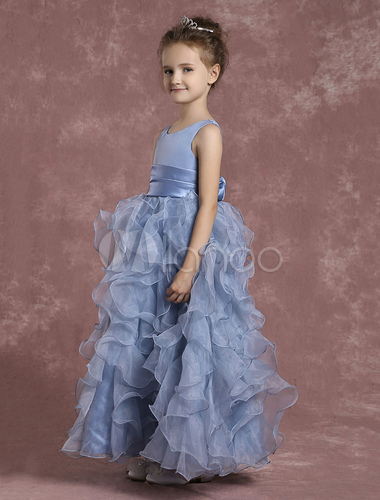 Blumenm dchen kleider rmellos organza ball gown kleinkind - Kleider milanoo ...