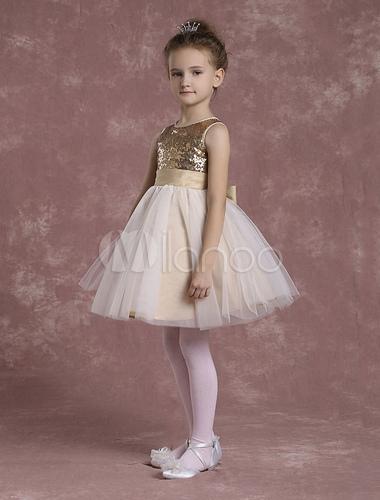 Vestido Para Las Niñas De Flores Color Ligero De Oro Con Escote Redondo Con Lazo