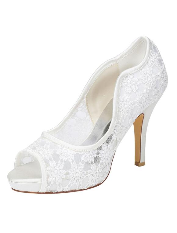 Cordón zapatos de novia marfil tacón plataforma Peep Toe Slip en bombas para boda T8gvgtLB