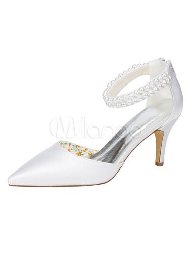 Zapatos de novia blanco seda tacon puntiagudo detalle perla correa de tobillo zapatos de boda 04BRo