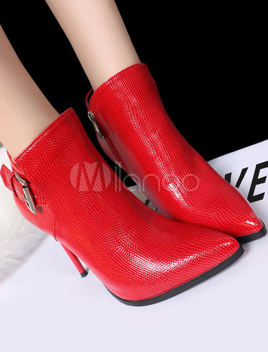 a basso prezzo 045ba d83cd Stivaletti donna tacco alto stivali rossi punta spillo inverno stivali con  fibbia
