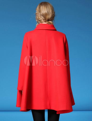 Abrigo capa roja mujer