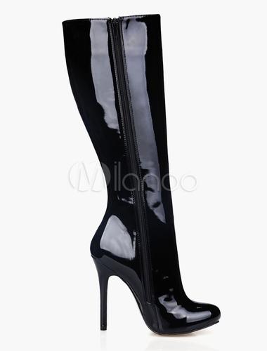 schwarze stiefeletten mit spike heels und roten sohlen. Black Bedroom Furniture Sets. Home Design Ideas