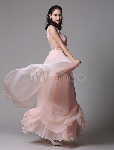 A-line Rosa Chiffon Prom Kleid mit Sweetheart-Ausschnitt und Seite ...