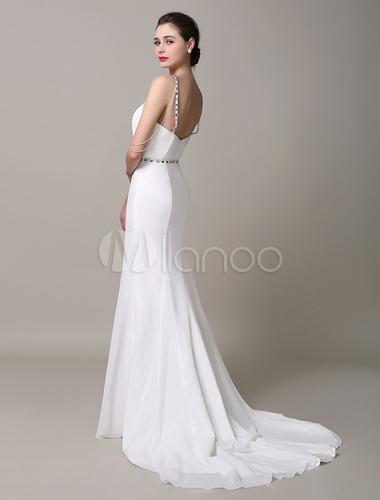 Elfenbein Hochzeitskleid Neckholder Mermaid rückenfreie Strass ...