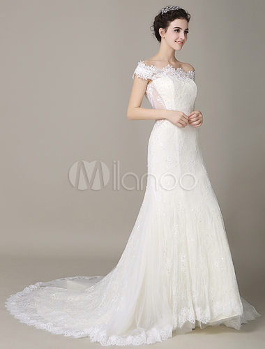 Ivory Wedding Dress Off The Shoulder Mermaid Lace Gown No5