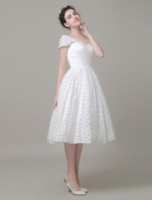 Sweetheart Wedding Dress Tulle A-Line Knee-Length Bridal Dress ...