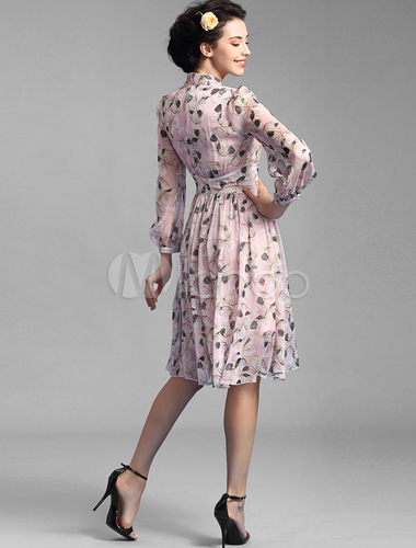bcaa0adc5e1c ... Pleated Vintage Dresses Embellished Collar Long Puff Sleeve Printed  Chiffon Dresses-No.3