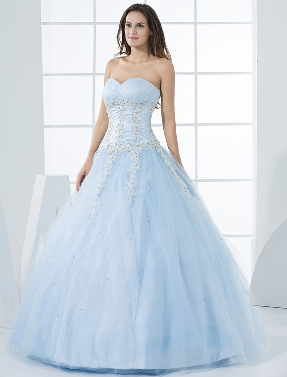 Princess Wedding Dresses Pastel Blue Quinceanera Dress Lace Lique Sweetheart Strapless Beading Tulle Floor Length Bridal